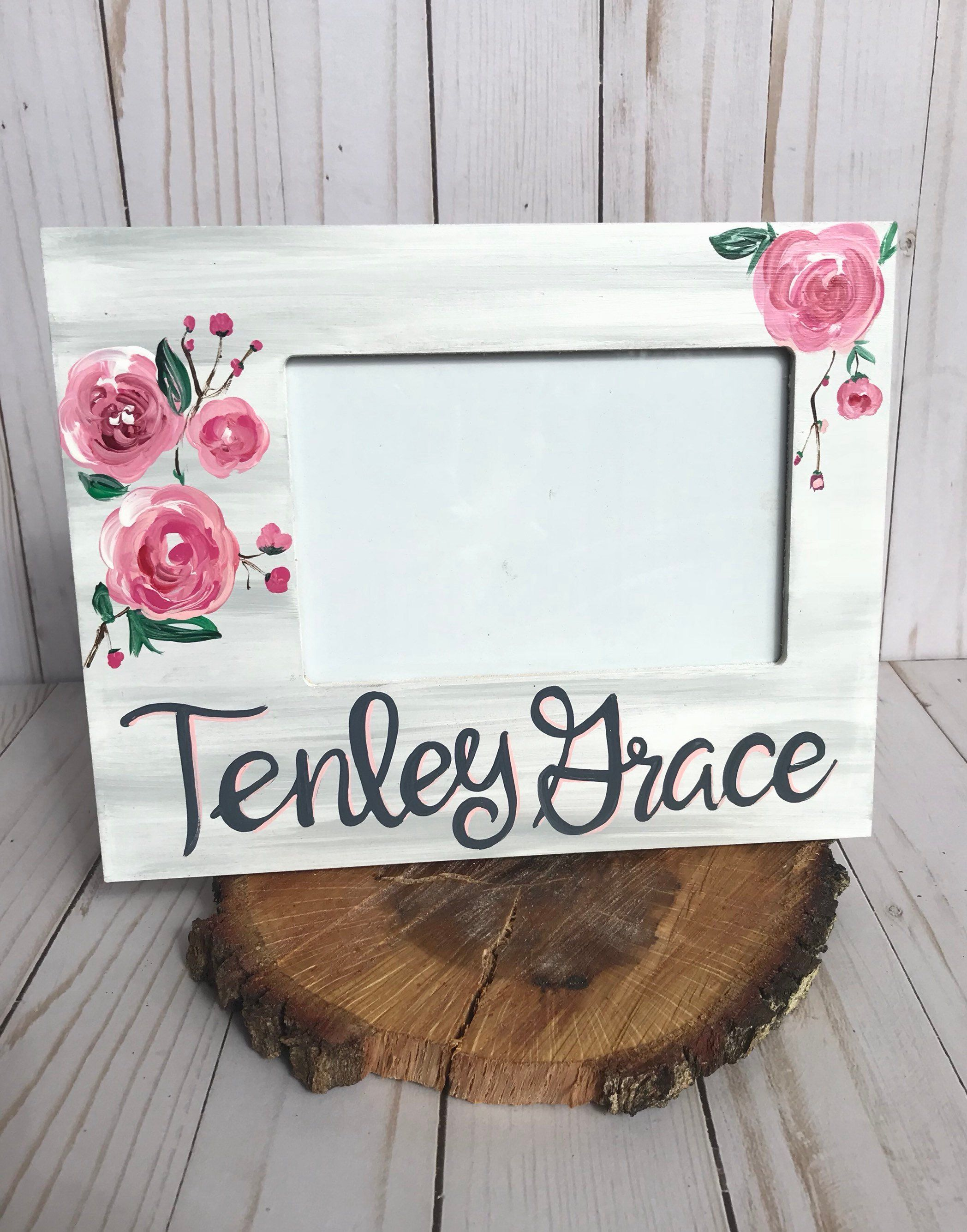 Custom Name Picture Frame Flower Picture Frame New Baby Frame