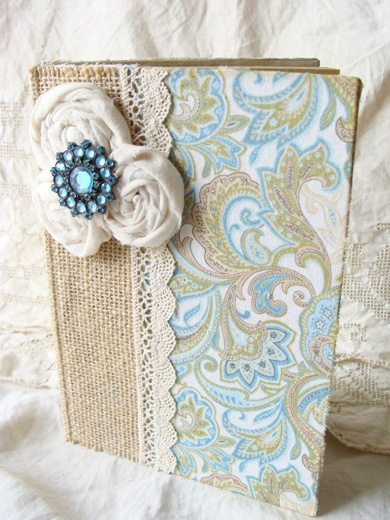 SALE - Burlap Lace Fabric Covered Journal Diary Prayer NoteBook Mixed Media Altered Art Memory Journal Rustic Shabby Soft Ecru Blue Paisey