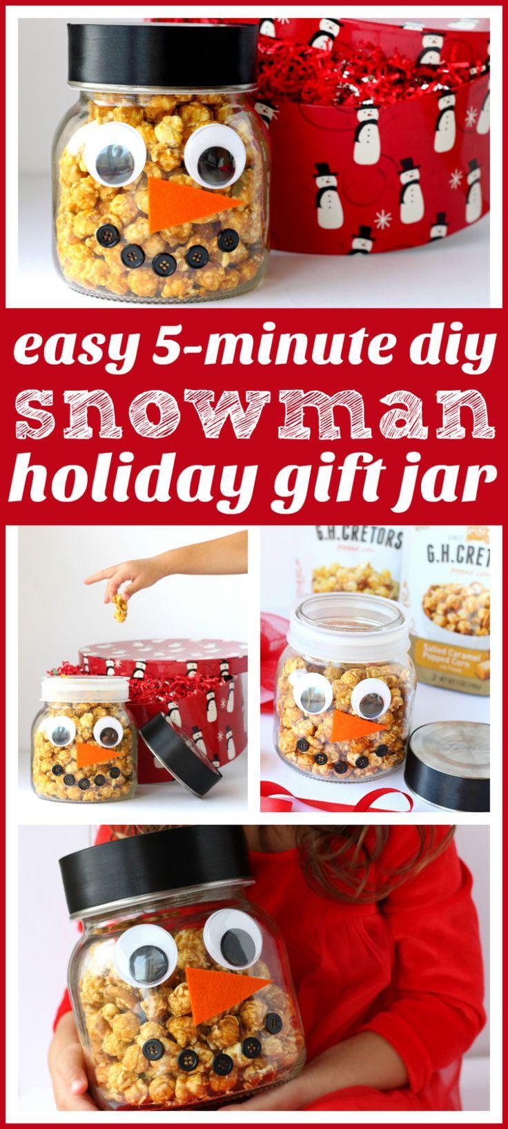 DIY Popcorn Snowman Jar | Holiday gifts, Christmas fun