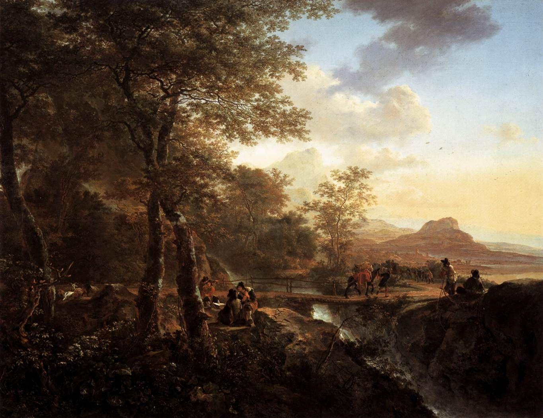 Italian Landscape With Draughtsman 1650 Italian Landscape Landscape Paintings Landscape Artist