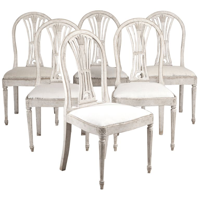 A Set Of Six Swedish Gustavian Inspired Painted Dining Chairs
