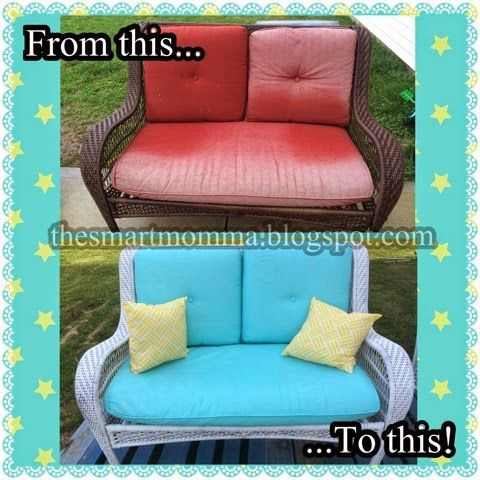 Yes You Can Paint Patio Cushions My Furniture Was Dull And Boring I Painted The Bench Shown Two Matching Chairs First Prim