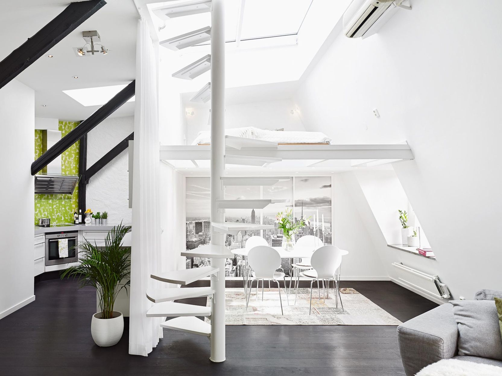A duplex with stairs to the roof floor penthouses American oak interior  design nordic style duplex