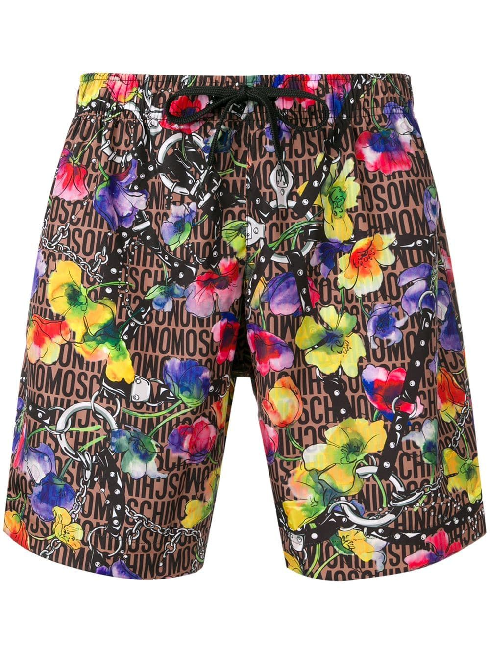 24de263e01bf27 MOSCHINO MOSCHINO FLORAL PRINT SWIM SHORTS - BROWN. #moschino #cloth ...