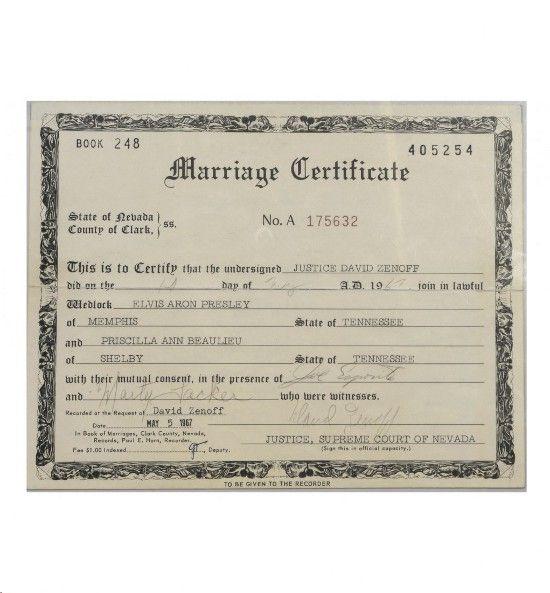 Elvis PresleyS Marriage Certificate Among Lots In Graceland