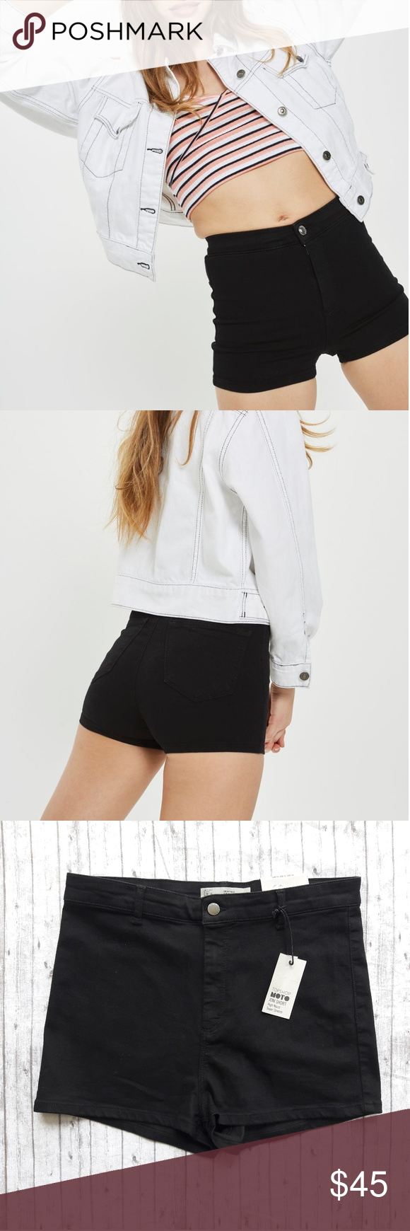 f72bc12b93 Topshop Petite Black Joni Shorts PETITE high rise shorts in super stretch  denim fabric. Based