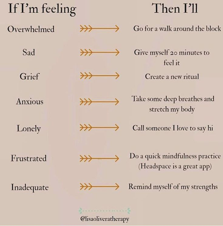 I love this. A course of action directly linked to the feeling. #feelings #actions #feelbetter