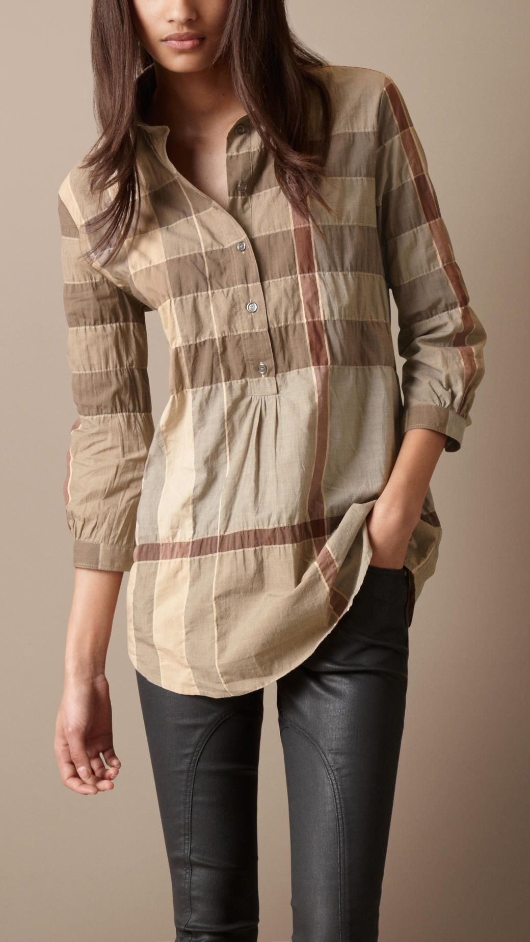 3d62e34b80e #Burberry Brit light military khaki cotton blend tunic (LOVE this print and  love the style) Tunics #2dayslook #Tunics style #TunicsfashionTunics ...