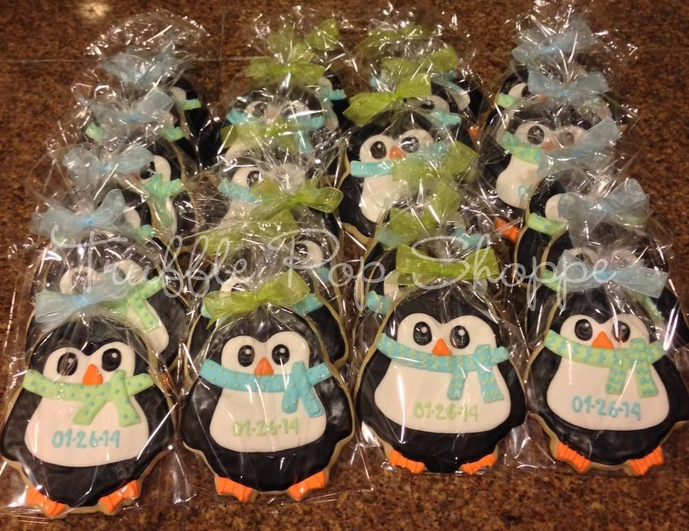 penguins for baby boy shower  cookie connection  decorated, Baby shower invitation