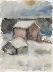 Henry Ericsson: Talvikuva, rakennuksia lumessa. Ateneumin taidemuseo.