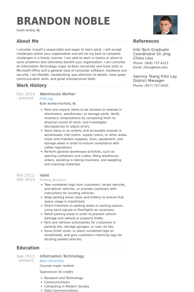 resume for a warehouse worker