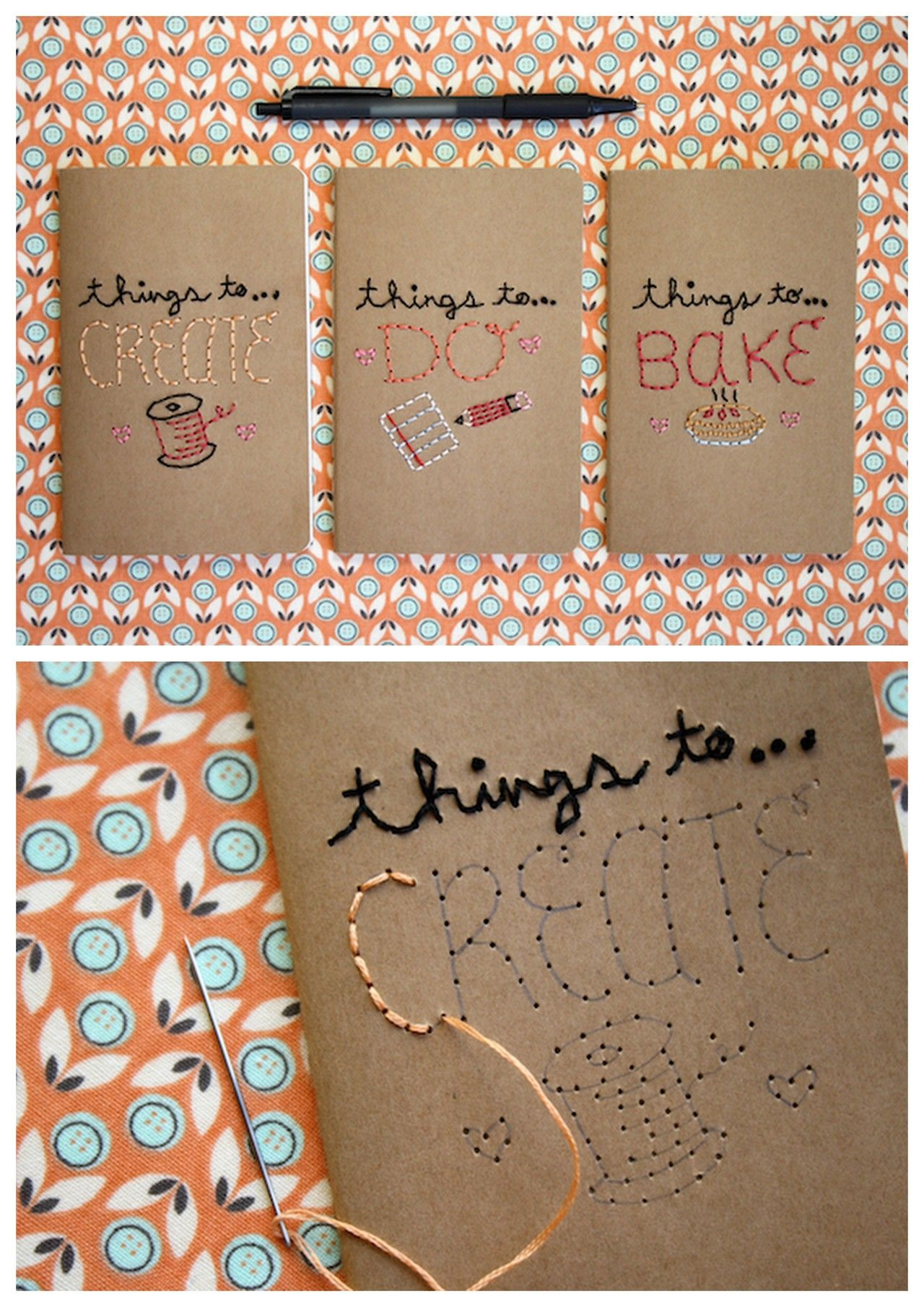 Embroidered Book Cover Tutorial : Diy easy embroidered journal tutorial from mollie makes