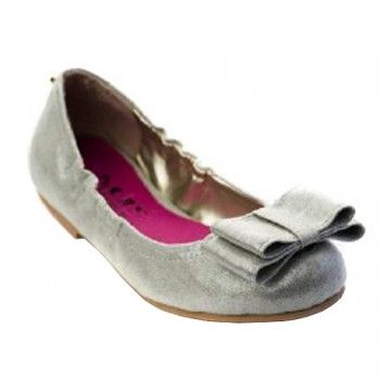 9eb3dcda7553 MUPS Silver Sparkle Bow Ballet Flat Shoes Little Girls 11-3 - SophiasStyle .com