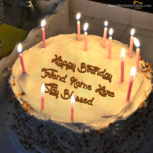 Write Name On Special Candles Birthday Cake Happy