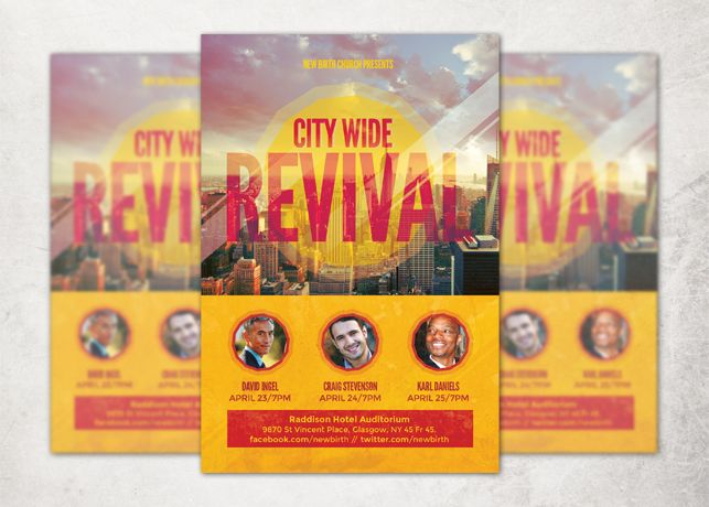 City Wide Revival Church Flyer Flyer Template Flyer Flyer Free