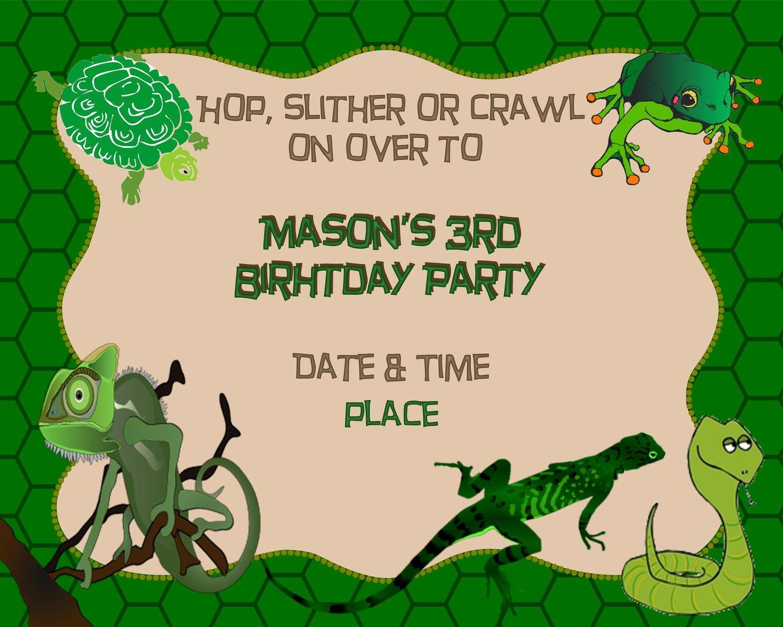 Reptile Birthday Party Invitations | My Birthday | Pinterest | Party ...
