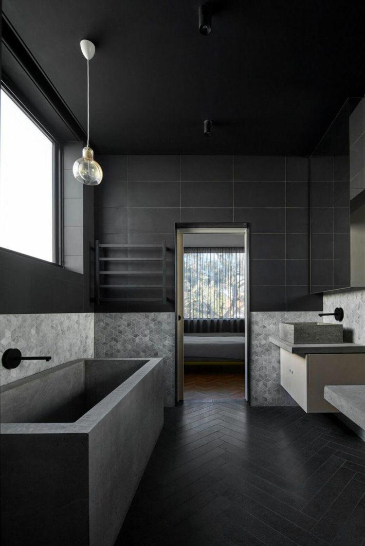 Fischgratmuster Schwarzes Badezimmer Fliesen Wand Beton Badewanne Modern Bathroom Style Schwarzes Badezimmer Badezimmer Schwarz Beton Badewanne