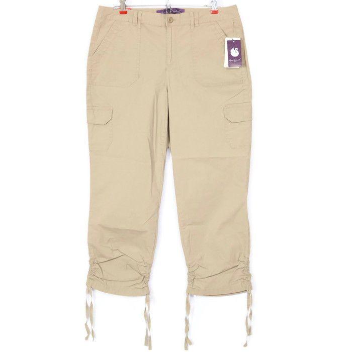 3120a76e510 Gloria Vanderbilt Zoey Womens Cargo Crop Capri Pants Size 8 Latte Khaki Tan   GloriaVanderbilt  GloriaVanderbiltPants  CargoPants