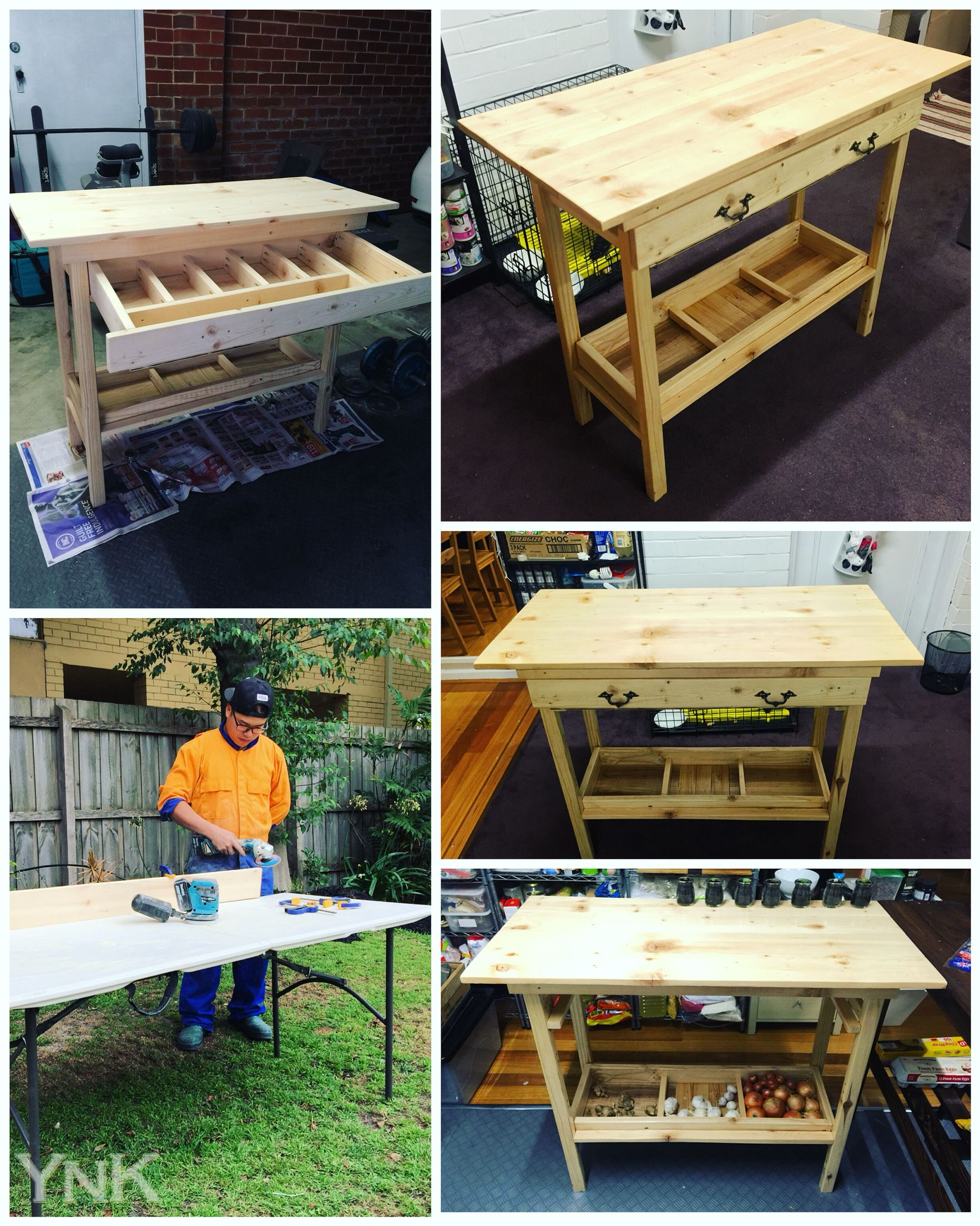 Kitchen Work Bench V2 0 Food Prep Table Diy Project Recycle Wooden Pallets 35 Hour Part Time Kitchen Work Tables Kitchen Prep Table Woodworking Table