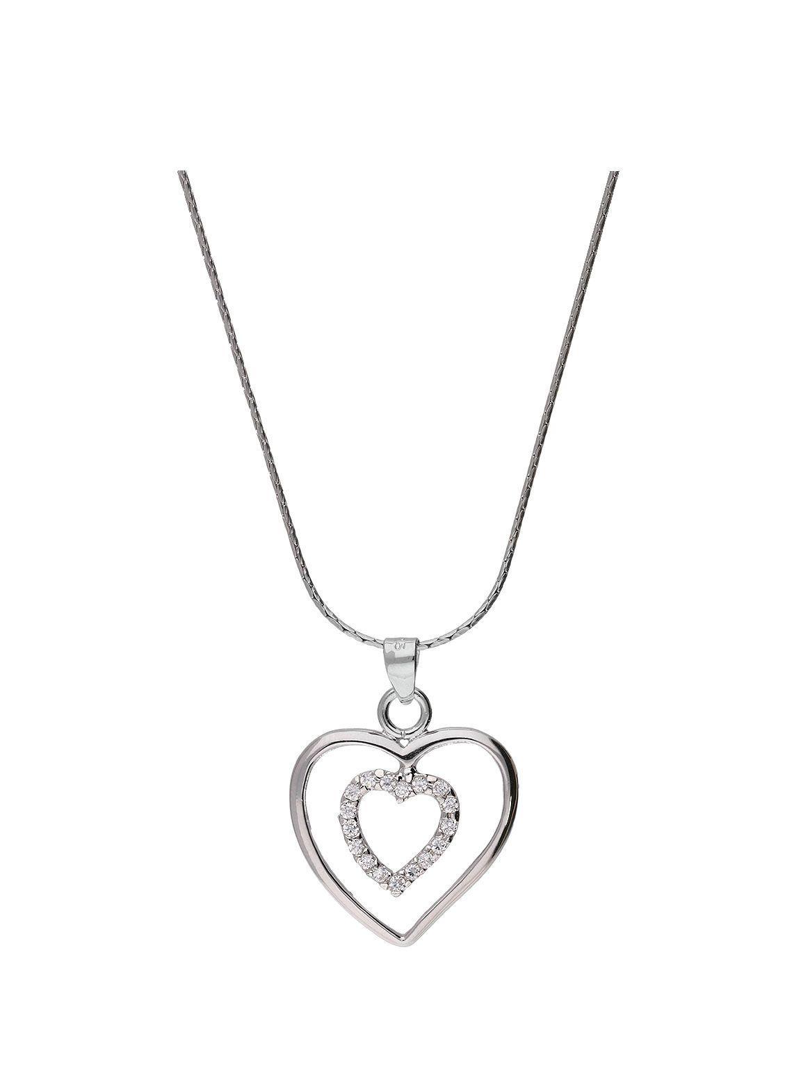Open floating heart pendant sterling silver cz love u hearts