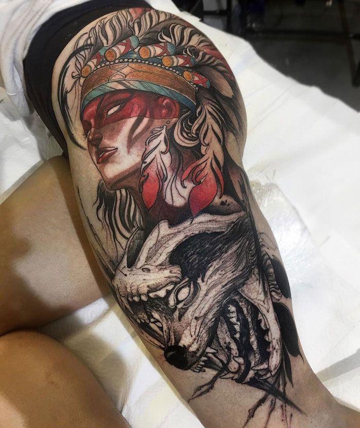 Tatouage Indien D Amerique Art Corporel Sur La Jambe Entiere