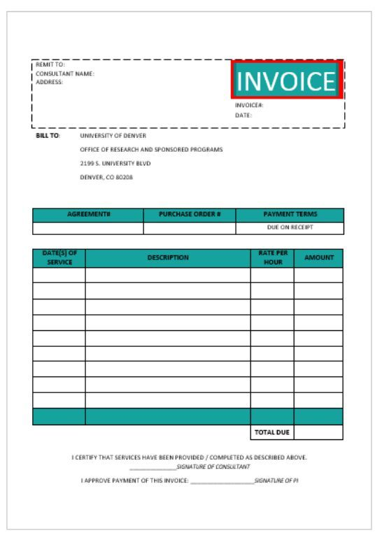 Consultant invoice template sample for consulting company or