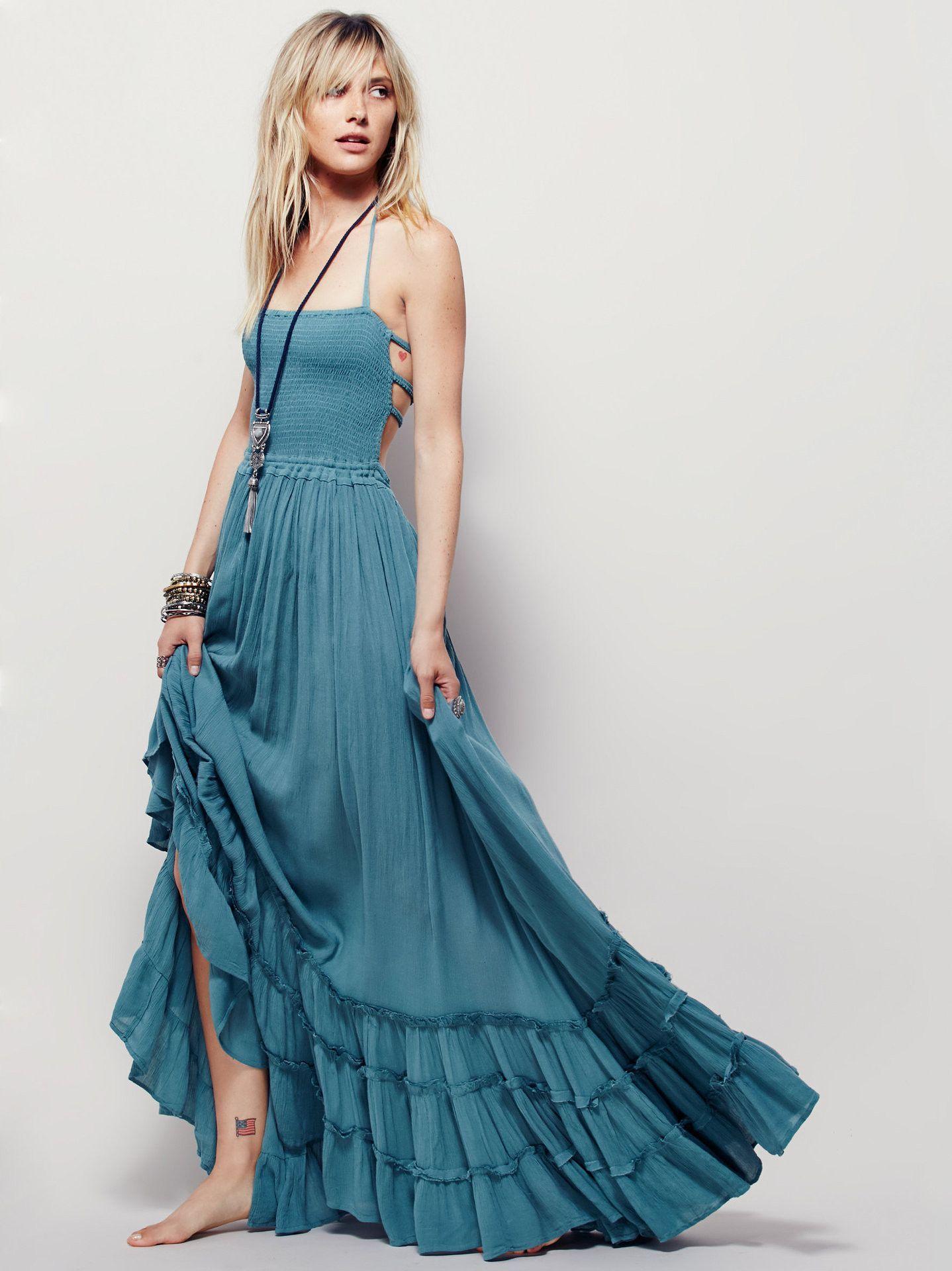 Backless Spaghetti Strap Sleeveless Long Beach Dress | Beach dresses ...