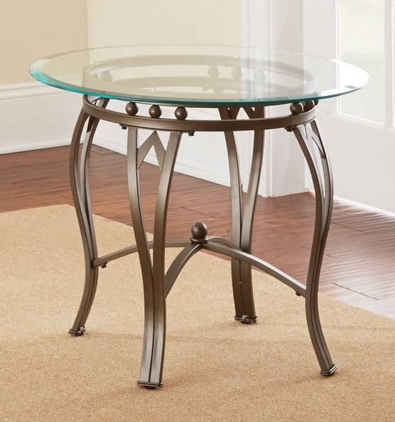 Round Glass And Metal End Table Glass Top End Tables Glass End