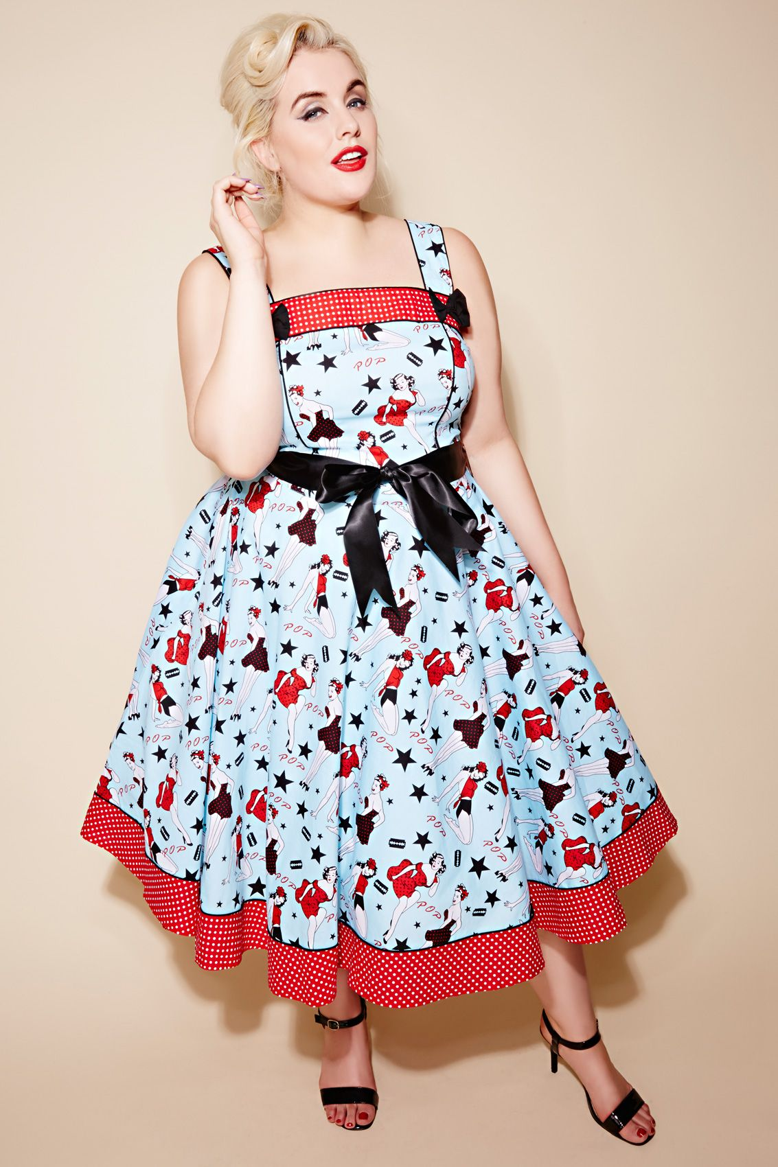 51422ceee72ec HELL BUNNY Blue Pin Up 50s Style Dress