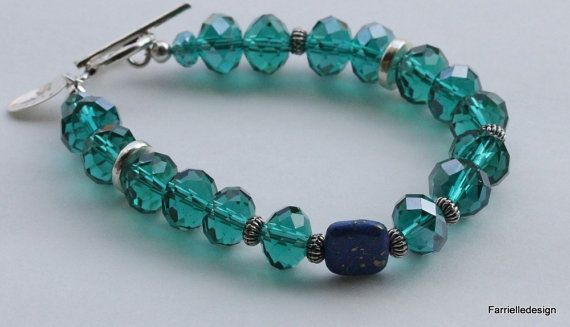 Sexual Violence Awareness Teal  glass bead bracelet by farrielledesign