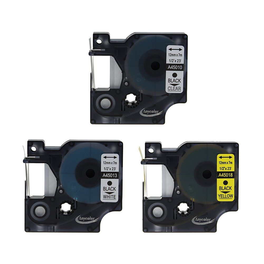 3 Pack D1 45013 45017 45018 Label Tape For DYMO D1 1//2/'/' X 23/' LabelManager 12mm