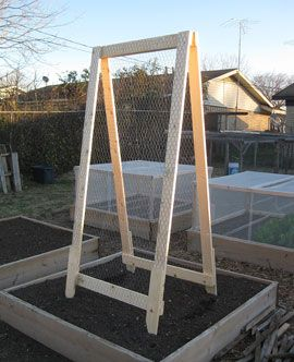 """A great reusable and DIY trellis for raised beds and Mel's vertical growing. I love the hinge on top to fold it when not in use and the replaceable bottom """"feet idea"""""""