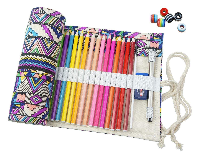 Amazon Com Creoogo Canvas Pencil Wrap Travel Drawing Coloring
