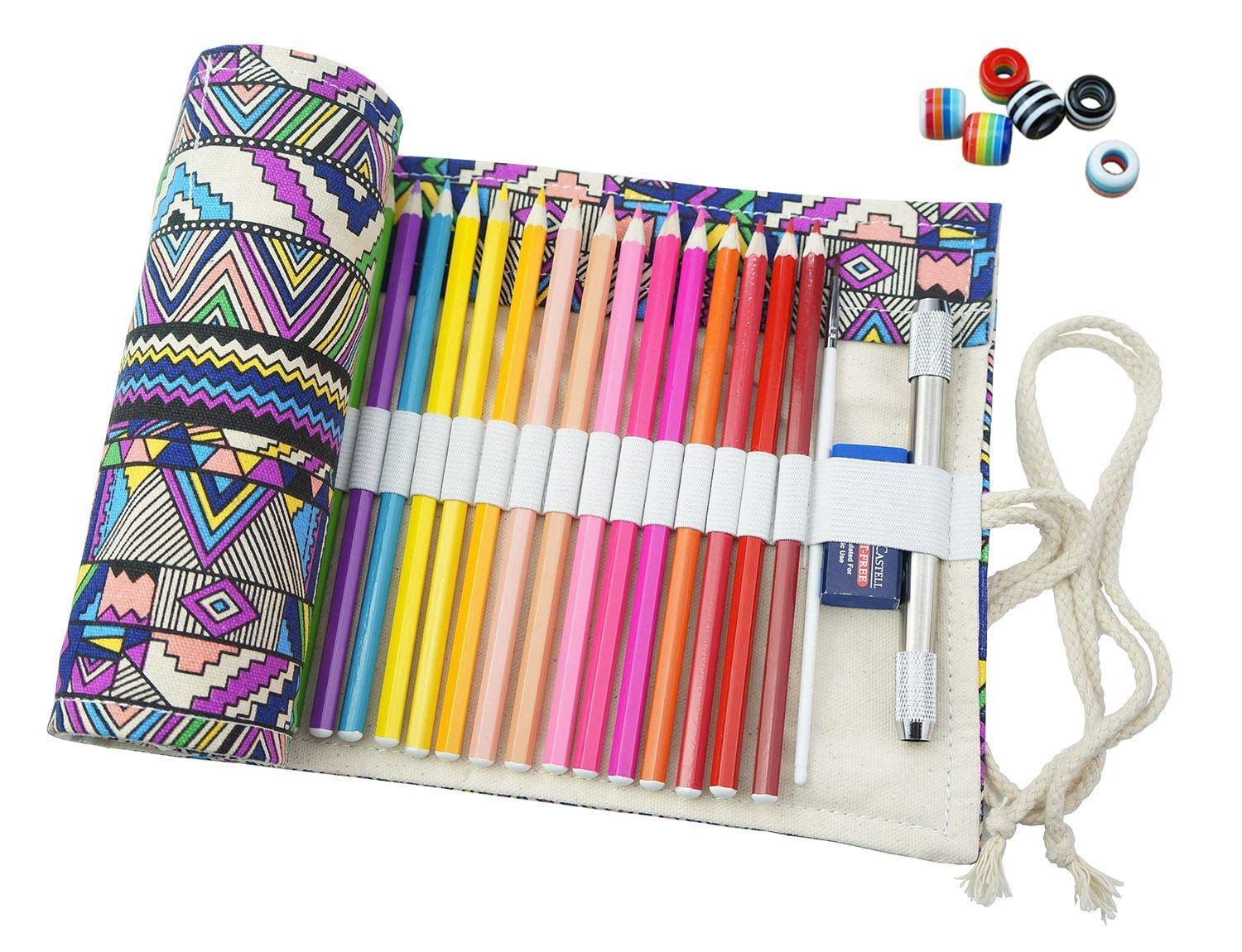 Amazon Com Creoogo Canvas Pencil Wrap Travel Drawing Coloring