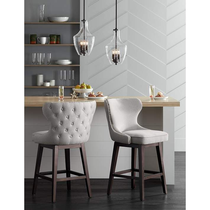 """25 Elegant And Exquisite Gray Dining Room Ideas: Ariana Light Gray Fabric 25 1/2"""" Swivel Counter Stool"""