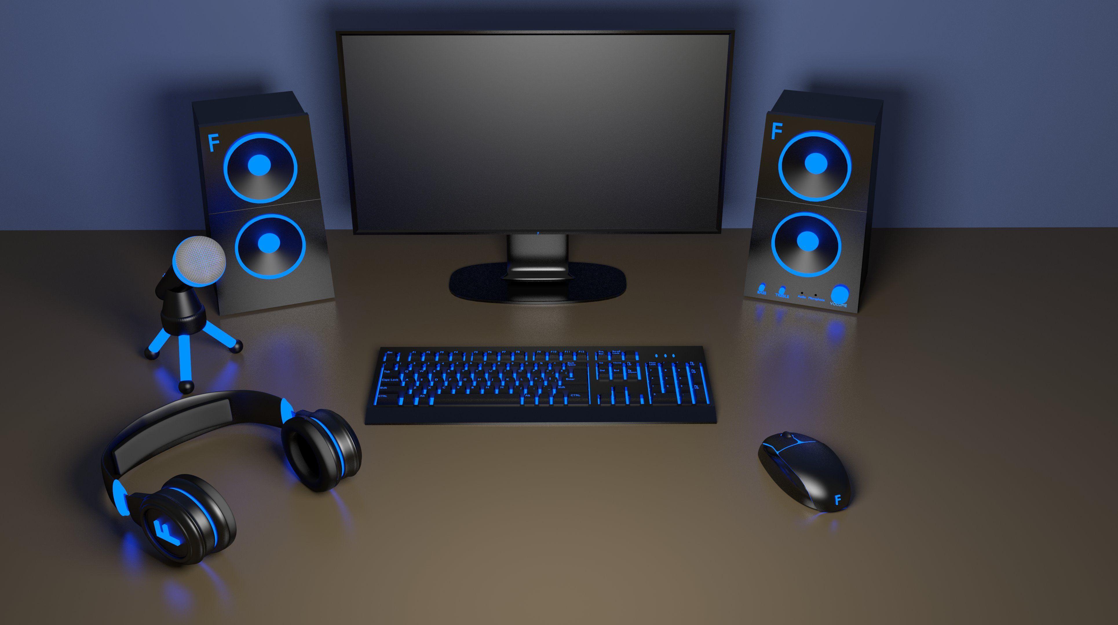Computer setup headphones mouse keyboard mechanical