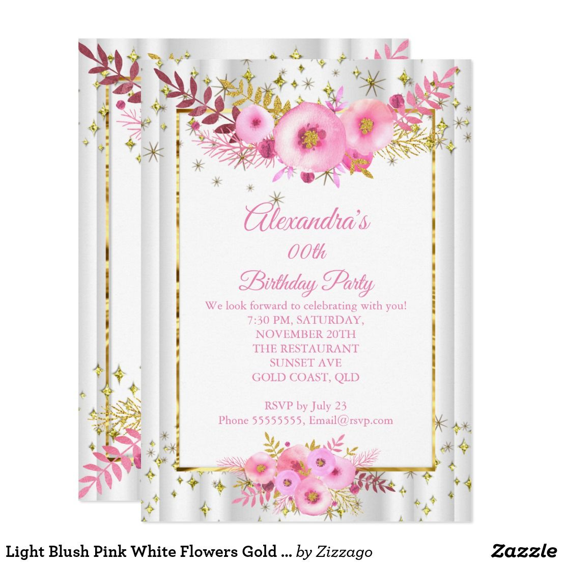 Instant Download DIY Printable Editable Blush Gold F833 60th Birthday Floral Birthday Party Invitation Rose Flowers Invitations