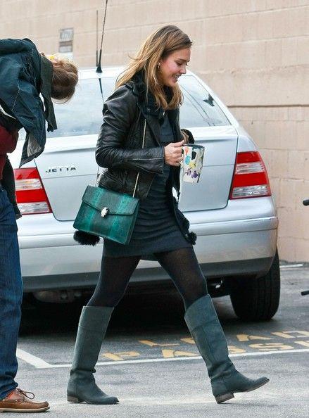 608ca4731eb Jessica Alba Flat Boots - Jessica Alba Fashion Lookbook - StyleBistro