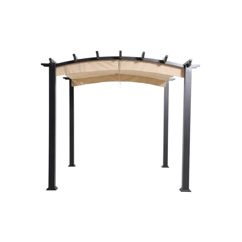 hampton bay 9 ft x 9 ft steel and aluminum arched pergola with retractable canopy browns tans. Black Bedroom Furniture Sets. Home Design Ideas