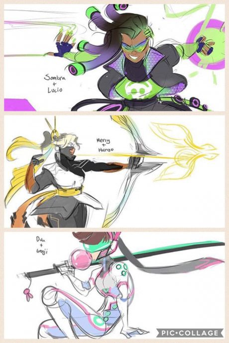 Someone mixed Some overwatch characters