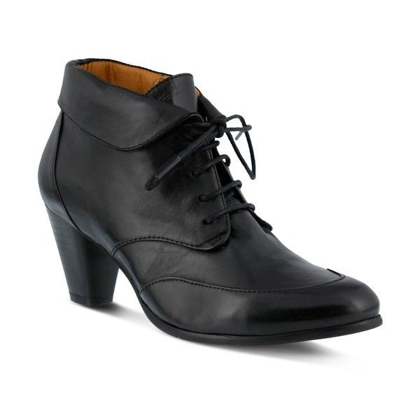Women's Spring Step Conquer Foldover Cuff Bootie ($180) ❤ liked on Polyvore  featuring shoes, boots, ankle booties, black leather, black lace-up boo…