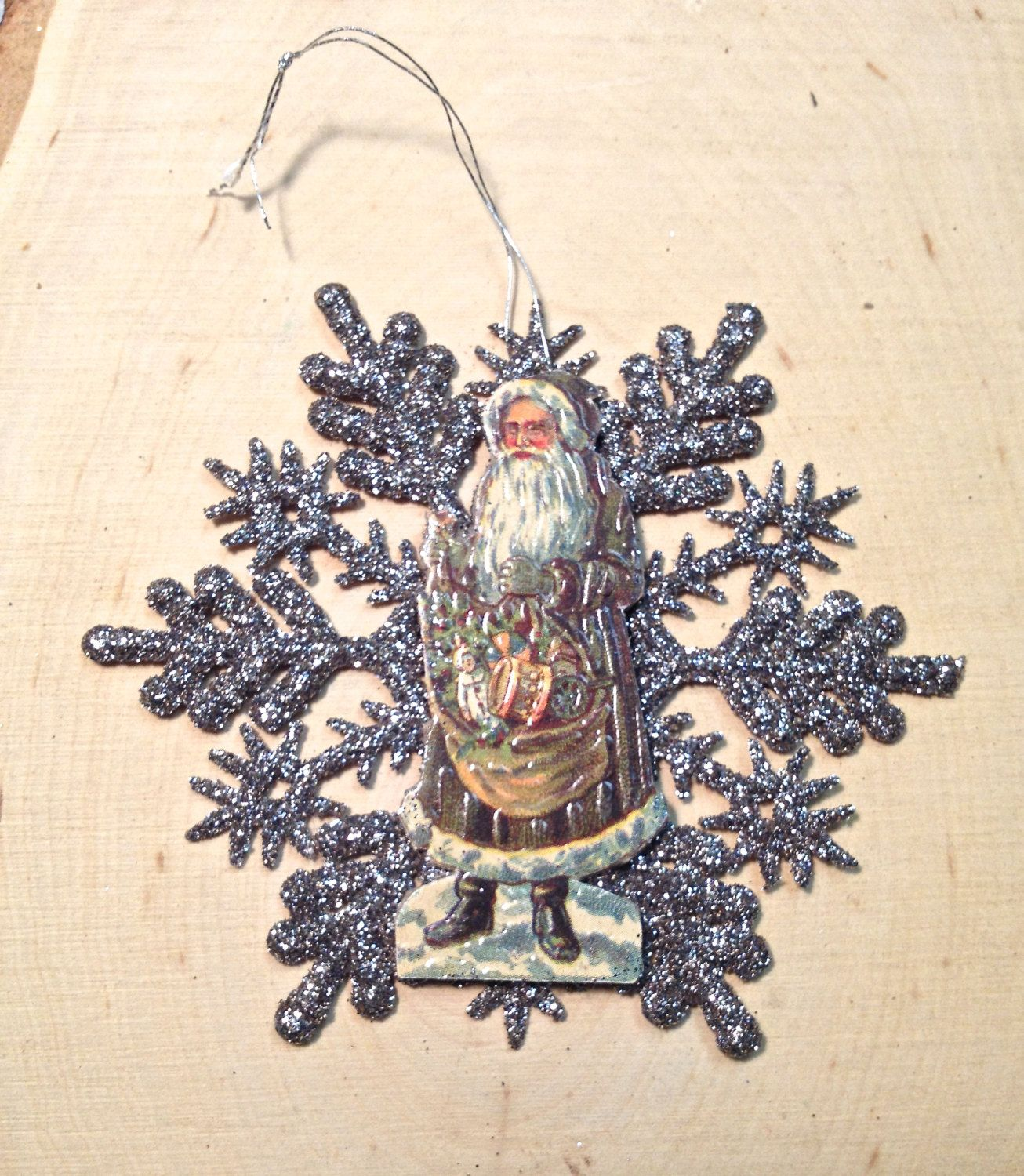 Victorian Father Christmas Decorations: Silver Snowflake And Victorian Santa With Sack Ornament By