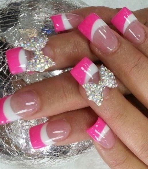 Pink And White French Tip Nails With Rhinestone 3d Bow Nails