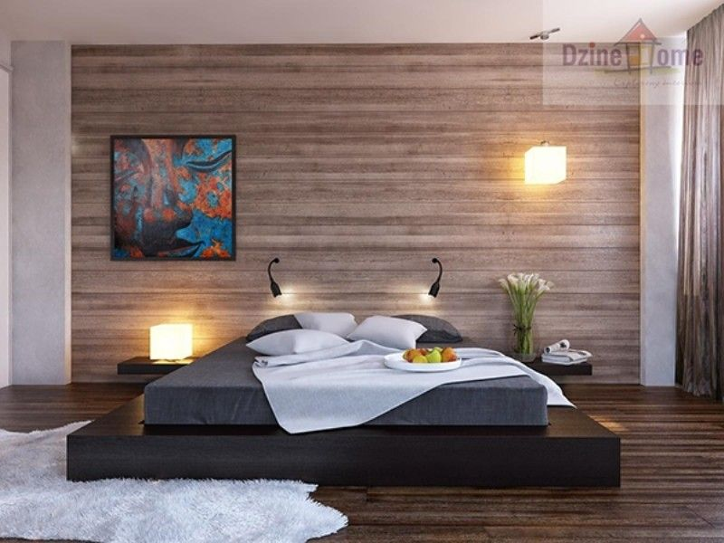 View Of Bed Room Designed With Platform Bed With Base Of Wood Wall Hung Shelves Beside Be Modern Bedroom Design Modern Minimalist Bedroom Bedroom Wall Designs