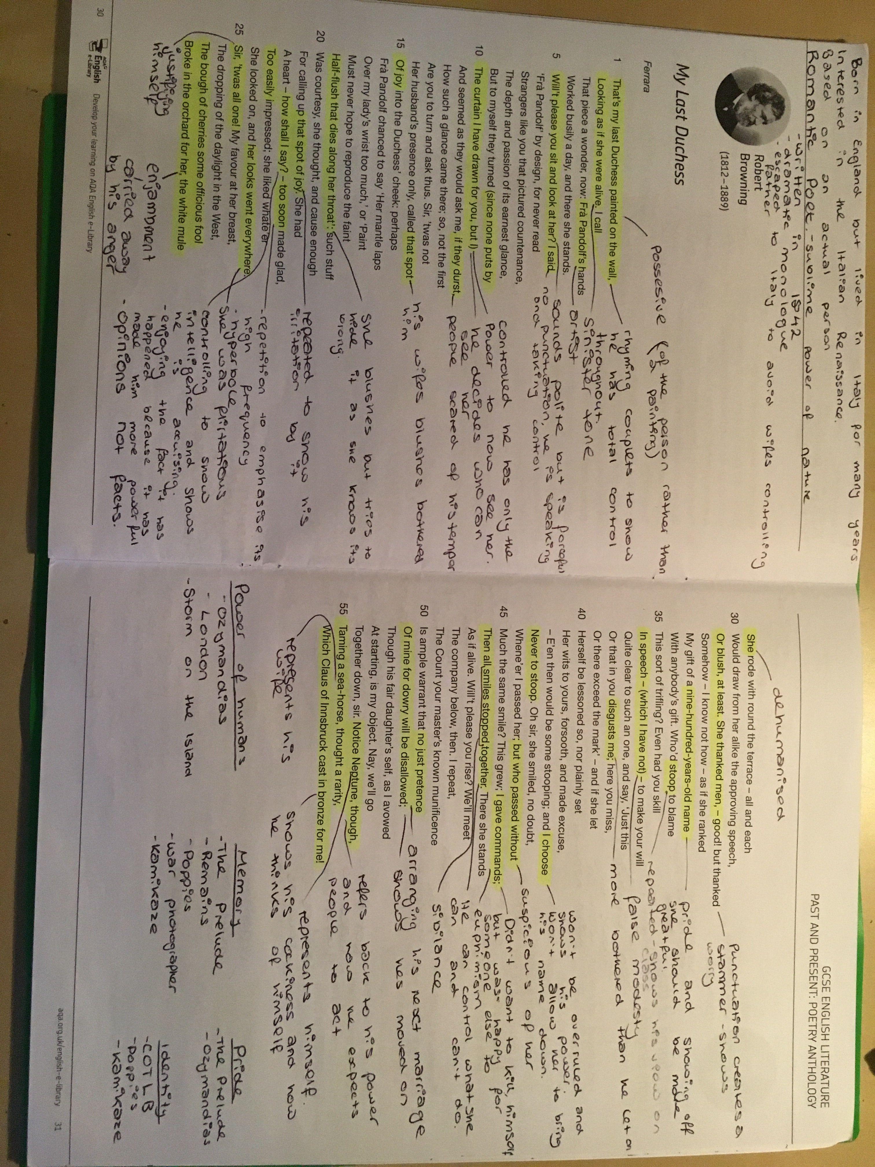 My Last Duches Gcse Poem English Literature Teaching Line By Analysis