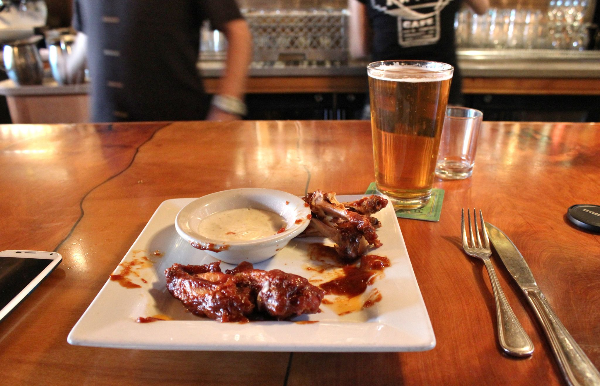 Wings and beer at The Raven Cafe in Prescott, AZ. Not a big deal, right? It is if you're a craft beer lover like me. Over two dozen beers on tap!