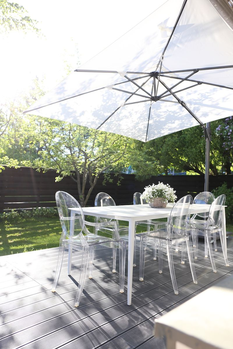 Homevialaura modern white sunshade terrace gargen outdoors decor brafab kartell ghost chairs