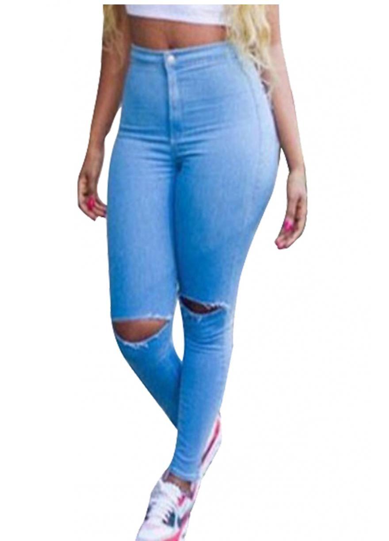 Blue Cut Out Knees High Waist Skinny Butt Lifting Jeans | Butt ...