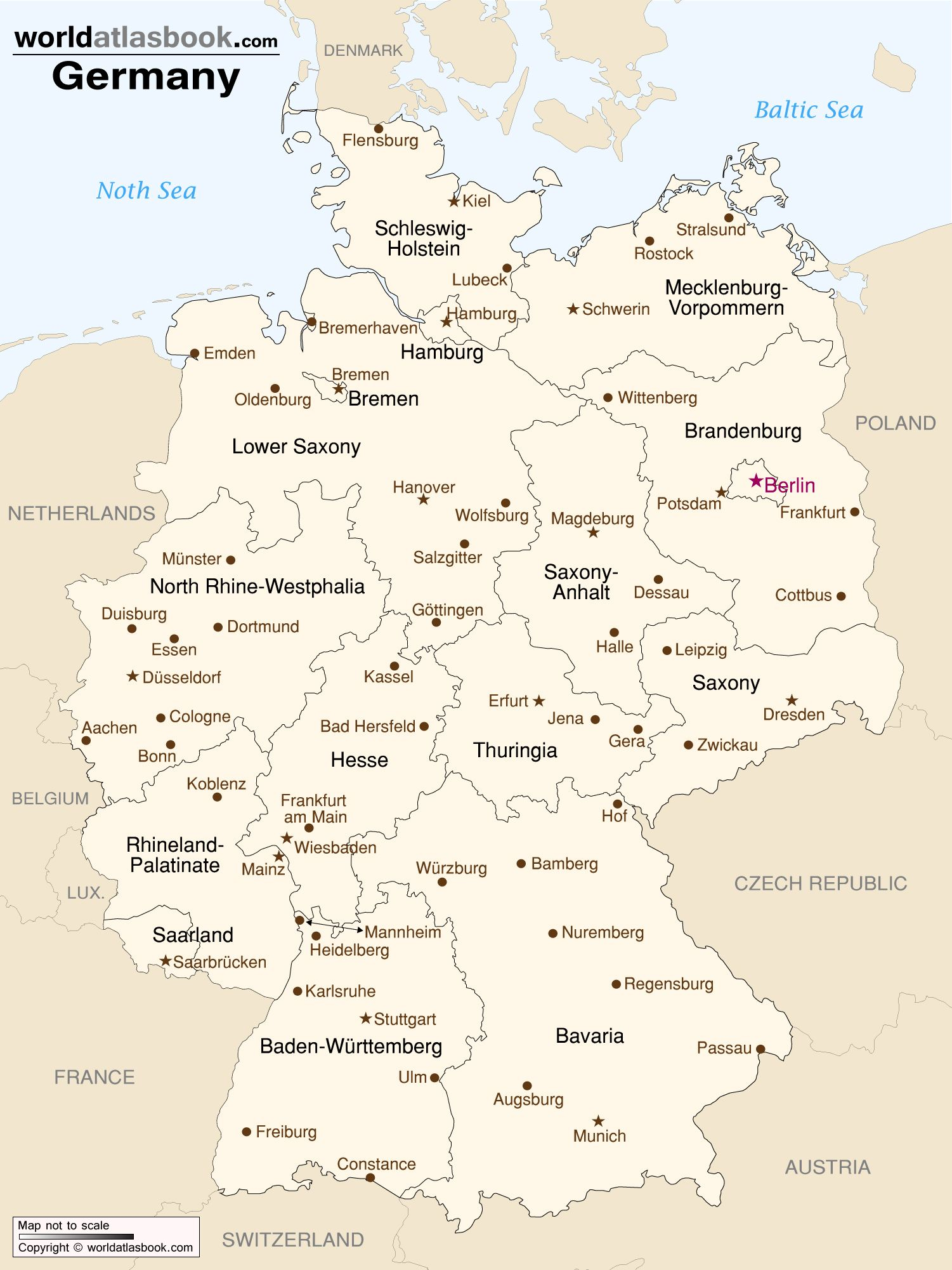 Printable Map Of Germany.Map Of Germany With States And Cities Germany Map Germany