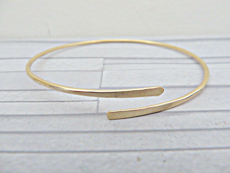Gold Filled Bangle Cuff Simple Bracelet 14k Thin Minimalist Uk